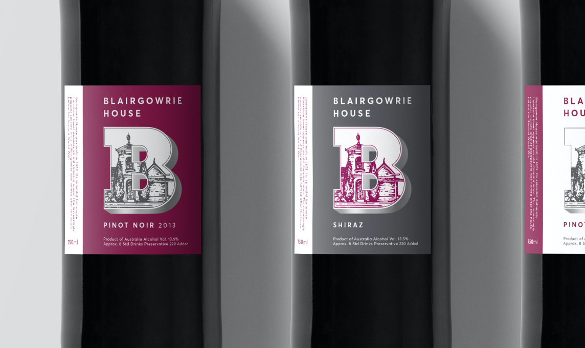 Close-up of Blairgowrie House wine labels