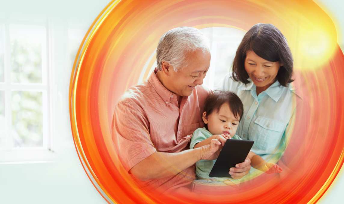 Senoko energy campaign image of family holding ipad