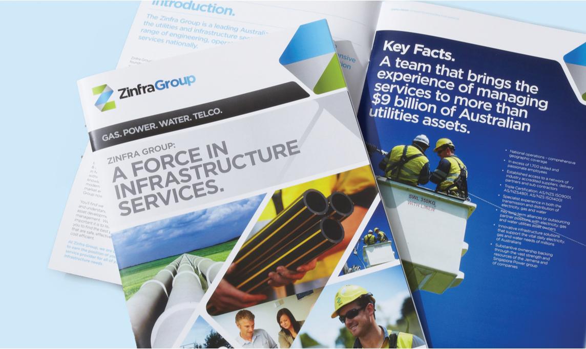 Design of Zinfra Group brochure