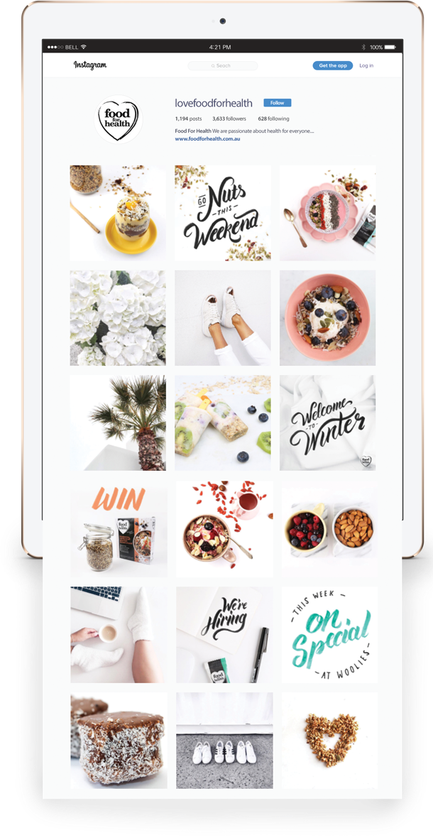 Instagram feed social tiles design for Food For Health
