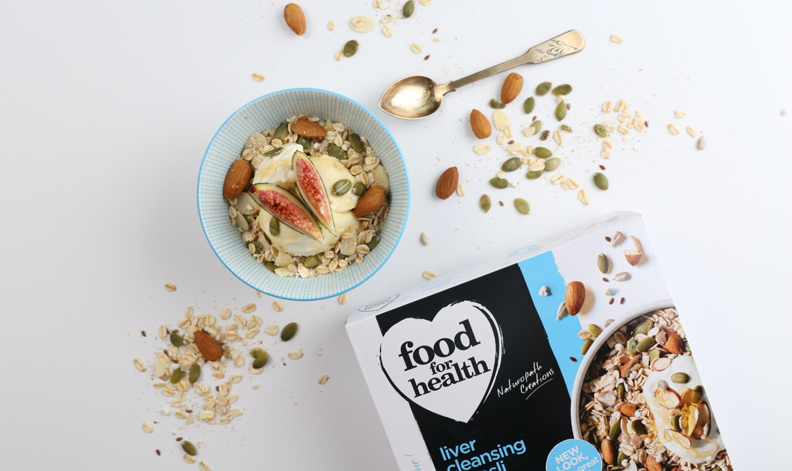 Food for Health muesli packaging and bowl