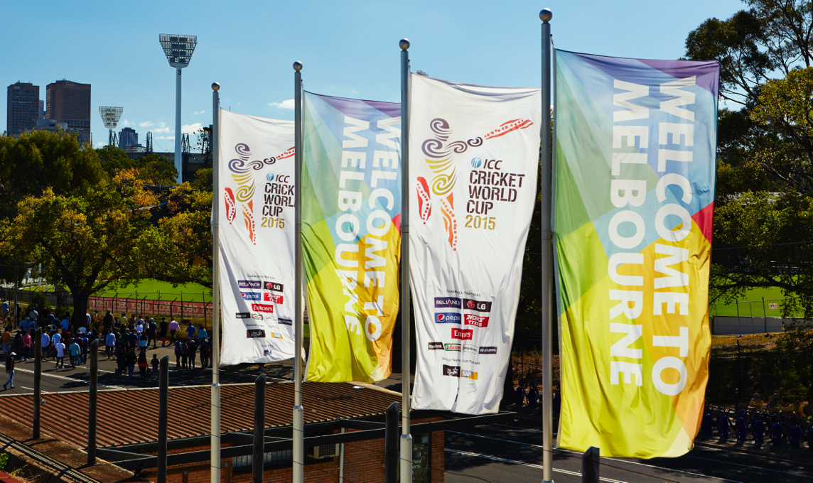 ICC Cricket World Cup 2015 event banners blowing in the breeze