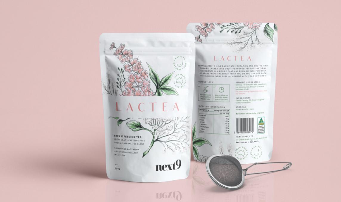 Lactea herbal tea packaging design