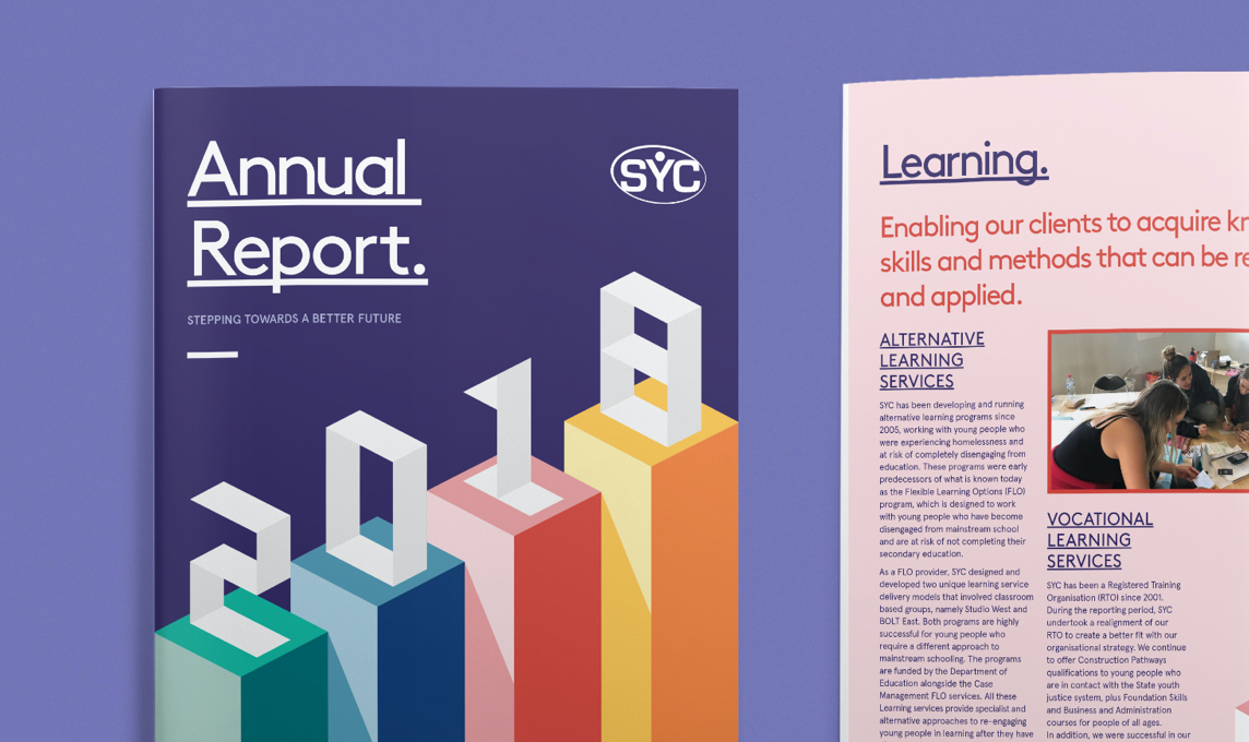 Cover and layout of SYC 2018 Annual Report