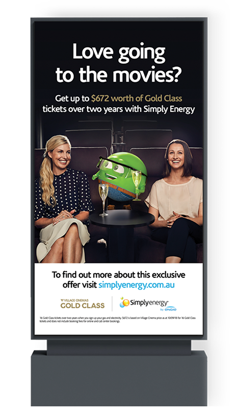 Simply Energy Gold Class shopping centre advertisement