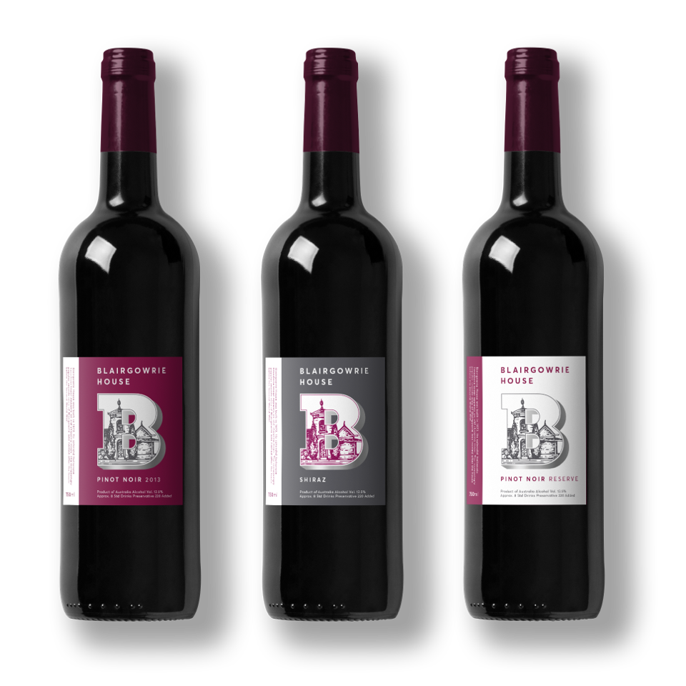 Wine labels for Blairgowrie House wine