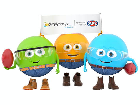 Simply Energy mascots, holding AFL banner and footballs