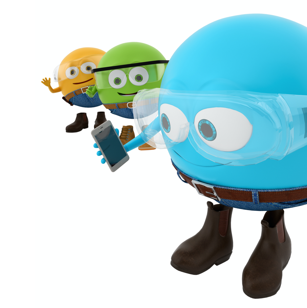 Simply Energy brand mascots holding a phone