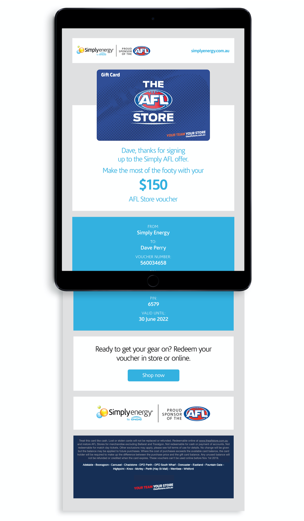 Simply Energy AFL Store Gift Voucher Email Marketing