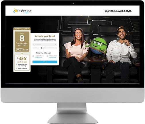 Simply Energy Gold Class landing page