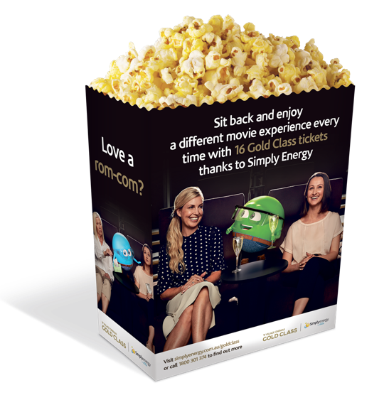 Popcorn box design for the Simply Energy Gold Class brand partnership