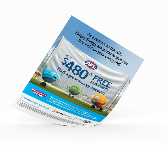 A flyer for Simply Energy's AFL energy offer